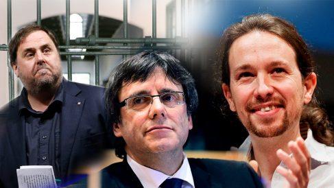 Pablo Iglesias, Carles Puigdemont y Oriol Junqueras.