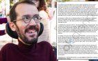 Pablo Echenique y la carta que le han dirigido. (Foto. Podemos)