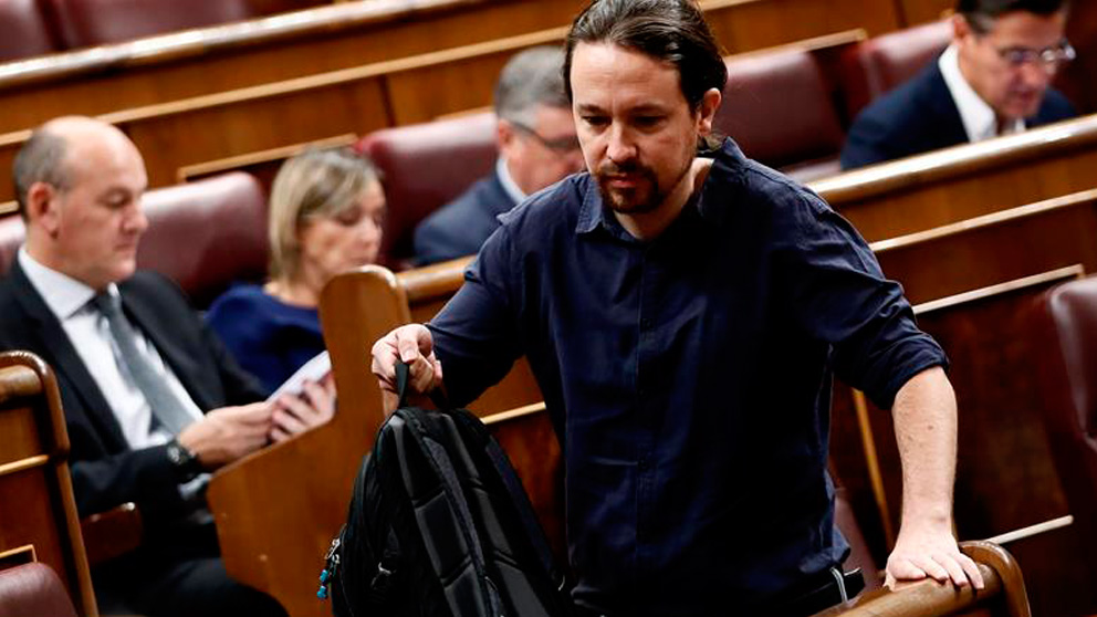 Pablo Iglesias, en el Congreso. : EFE)
