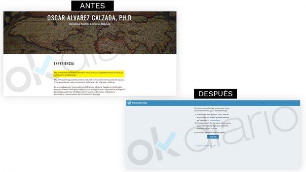 El plagiador de Sánchez borra su página web y su Linkedin tras la noticia de OKDIARIO