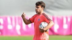 Juan Bernat, durante un entrenamiento con el Bayern de Múnich. (AFP)