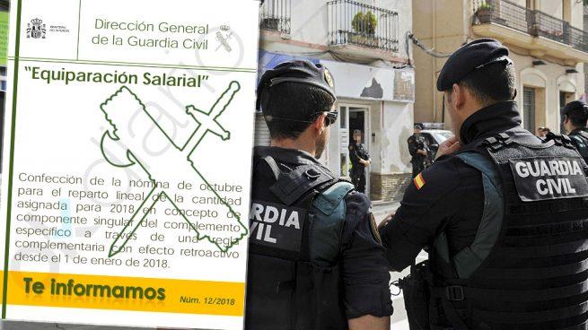 Interior notifica a los guardias civiles el pago de la equiparación salarial en las nóminas de octubre
