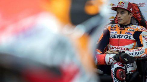 Marc Márquez, en su box en el GP de Japón de MotoGP. (Getty)