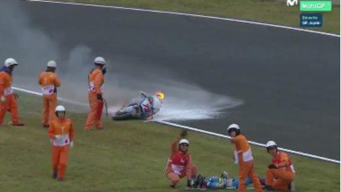 La espeluznante caída de Álex Márquez en el GP de Japón. (Movistar)