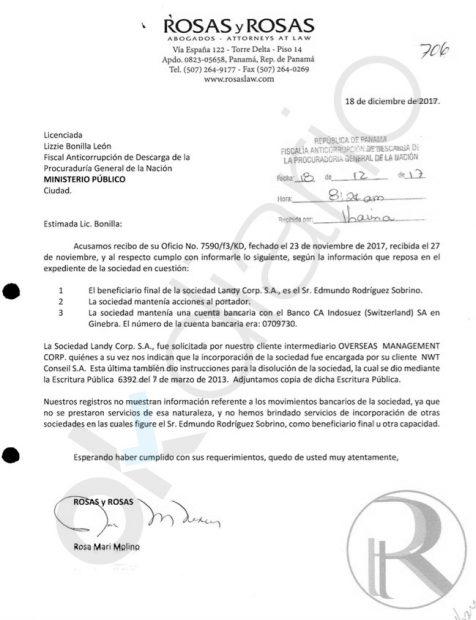 Escrito remitido por el despacho de abogados panameño Rosas y Rosas sobre la sociedad de Edmundo Rodríguez Sobrino.