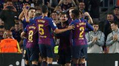 Los jugadores del Barcelona celebran un gol contra el Sevilla. (EFE)