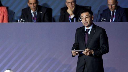 Bartomeu, en la Asamble de Socios del Barcelona. (EFE)