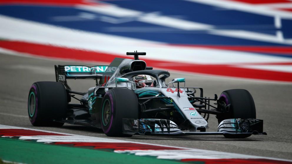 Lewis Hamilton rueda en el GP de Estados Unidos. (AFP)