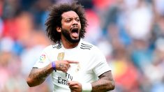 Marcelo celebra el 1-2 ante el Levante. (Getty)