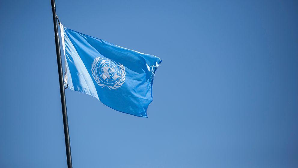 Una bandera de las Naciones Unidas
