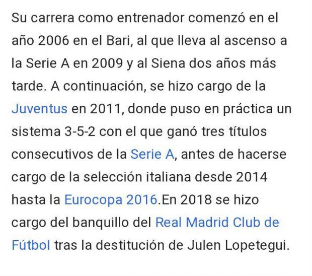 Conte ya es entrenador del Real Madrid… para la Wikipedia