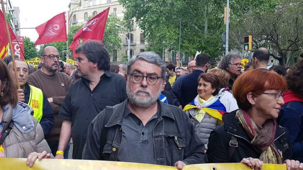 El terrorista Carles Sastre en una manifestación de CSC-Intersindical