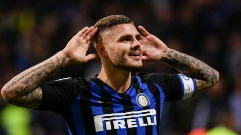 Mauro Icardi celebra el gol ante el Milan (AFP).
