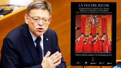 Ximo Puig y el cartel del congreso sobre los 600 años de la Generalitat Valenciana