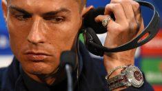 Cristiano Ronaldo, en la rueda de prensa de Old Trafford. (AFP)