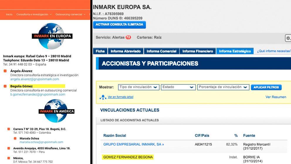 Begoña Gómez, accionista de Inmark Europa SA