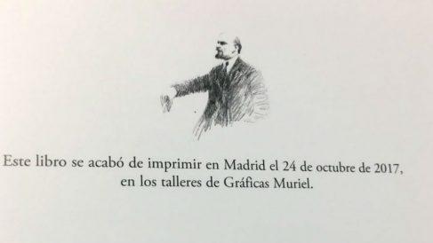 Una imagen de Lenin en la última página del libro 'A puerta cerrada', de Luis García Montero