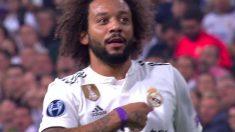 Marcelo se señaló el escudo tras marcar el segundo gol del Real Madrid.