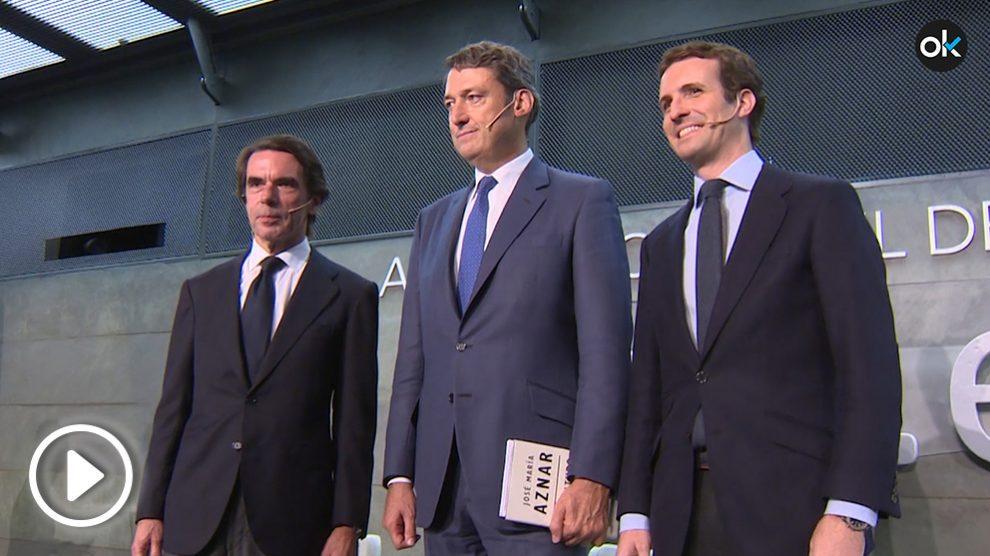 Aznar y Casado, este martes, en la presentación del libro del expresidente.