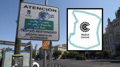 Cartelería de Madrid Central y logotipo de la APR. (Foto. Madrid)