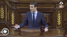 El líder del PP, Pablo Casado, ha protagonizado una vibrante intervención ante el pleno del Congreso de los Diputados