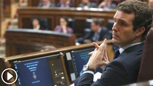 El presidente del Partido Popular, Pablo Casado, durante el pleno del Congreso de los Diputados (Foto: Efe)