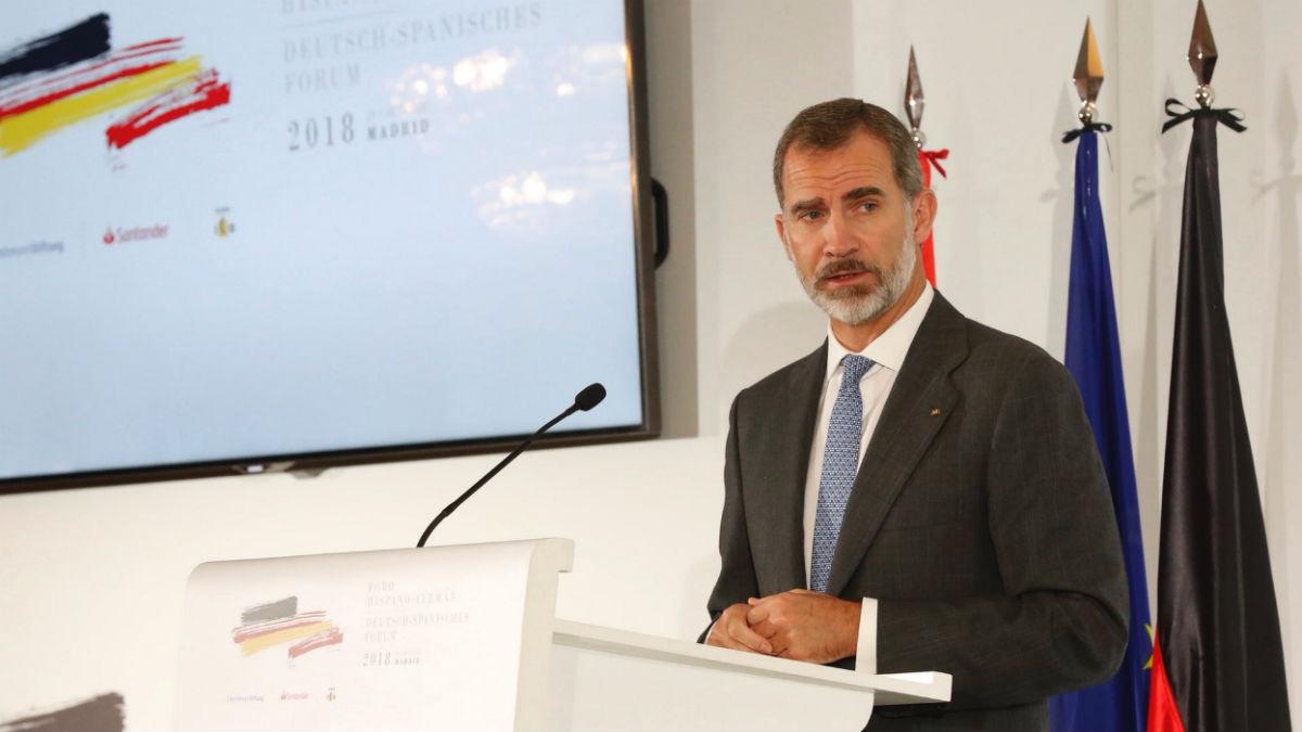 El Rey  en la clausura del Foro Hispano Alemán (Casa Real).