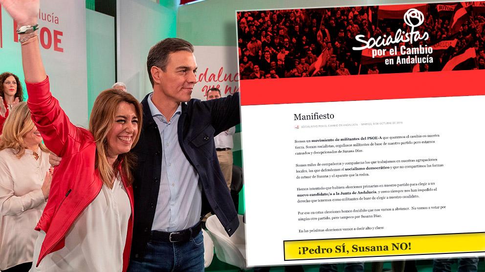 Pedro Sánchez y Susana Díaz el pasado sábado en Sevilla y el manifiesto «¡Pedro Si, Susana NO!»