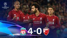 El Liverpool golea al Estrella Roja. (AFP)