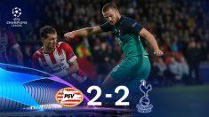 PSV y Tottenham empatan a dos. (AFP)