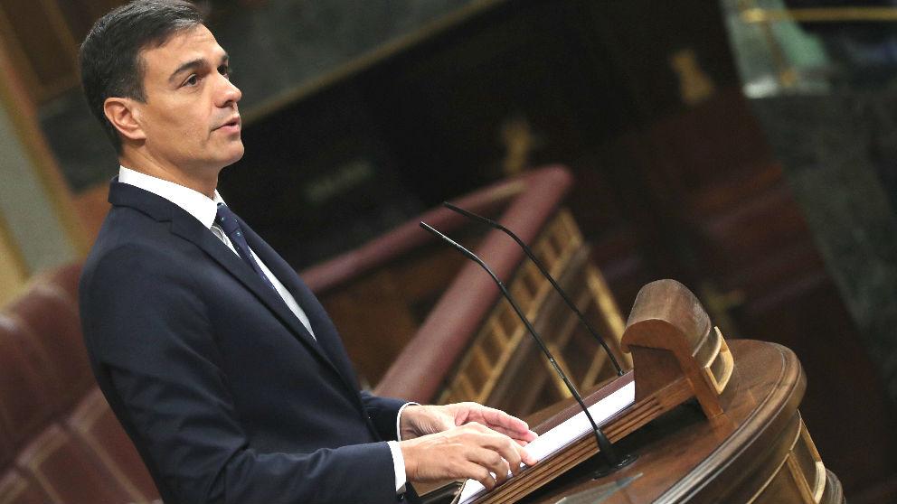 El presidente del Gobierno, Pedro Sánchez, durante su intervención ante el pleno del Congreso de los Diputados (Foto: Efe)