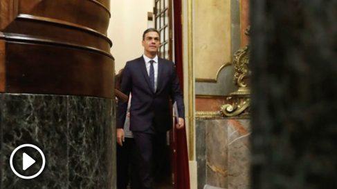 El presidente del gobierno Pedro Sánchez, durante la sesión de control en el Congreso de los Diputados. (Foto: Efe)