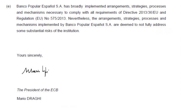 La contradicción del BCE en sus comunicados al Popular