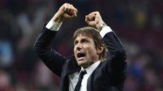 Antonio Conte, celebrando un gol el curso pasado (AFP).