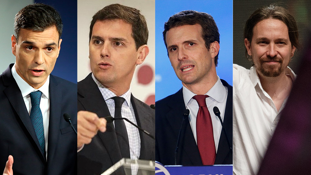 Pedro Sánchez, Albert Rivera, Pablo Casado y Pablo Casado