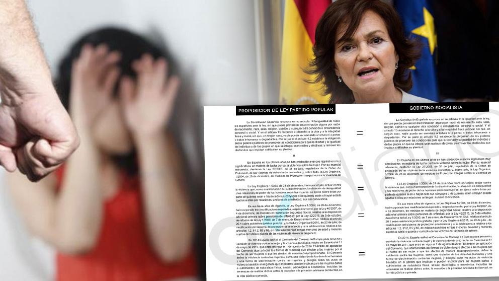 Calvo copia a Sánchez y plagia textos íntegros de una proposición del PP en varias enmiendas de violencia de género