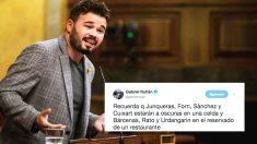 El tuit de Gabriel Rufián que le deja en ridículo por defender a los presos separatistas
