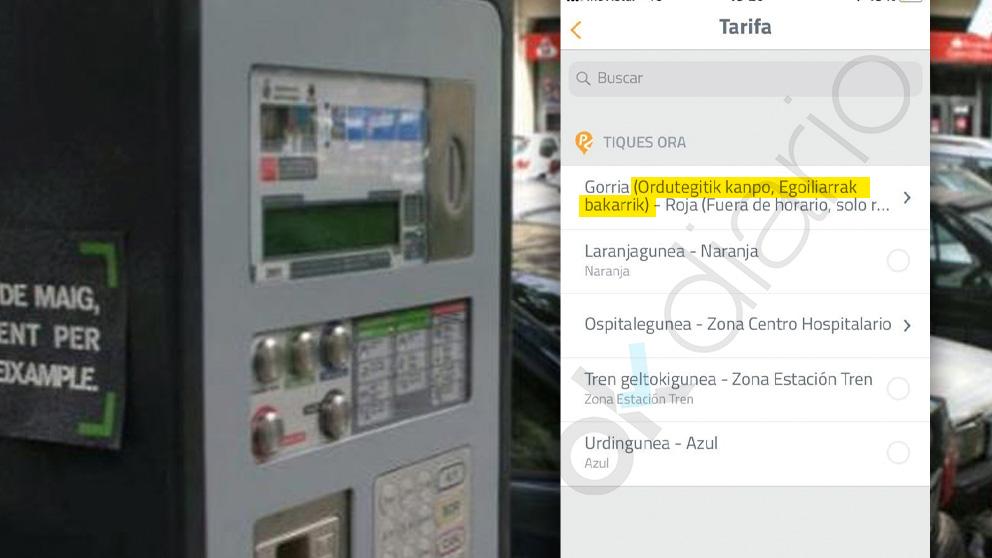 Imagen de cajeros de tiques de la ORA y uno de tiques  de la app móvil en Pamplona