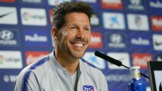 El Cholo Simeone en la rueda de prensa. (EFE)