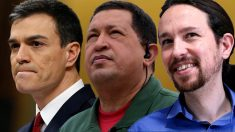 Pedro Sánchez, Hugo Chávez y Pablo Iglesias.