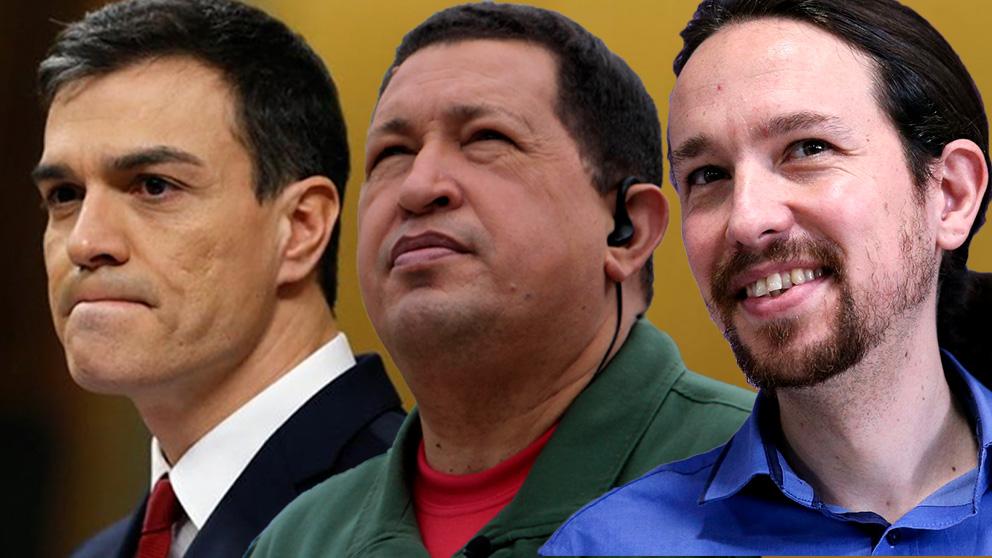 Pedro Sánchez, Hugo Chávez, ex dictador de Venezuela, y Pablo Iglesias.
