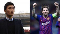 Steven Zhang y Leo Messi.