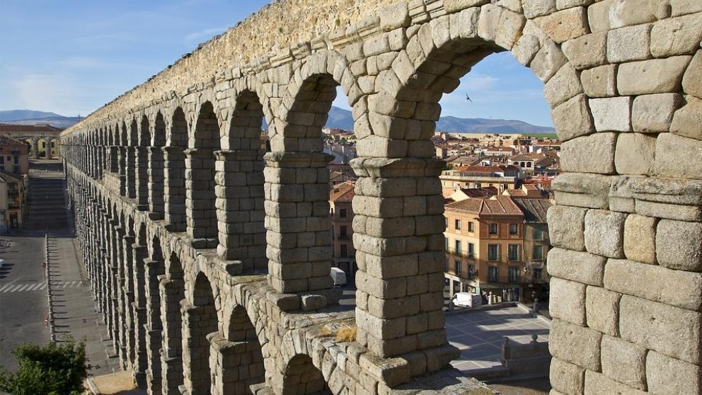 El acueducto de Segovia, uno de los yacimientos-romanos mejor conservados.