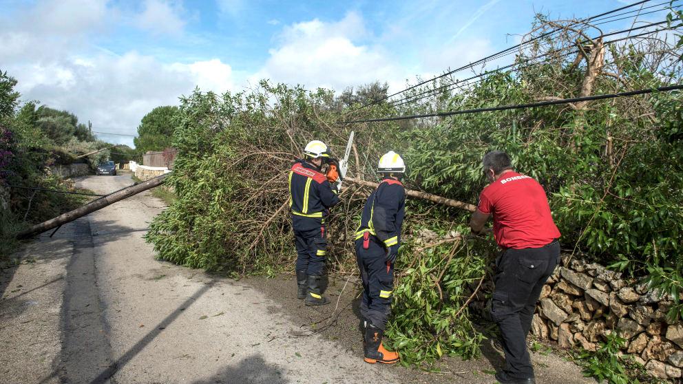Los bomberos trabajando tras el tornado en Menorca.