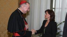 La vicepresidenta del Gobierno y ministra de la Presidencia, Relaciones con las Cortes e Igualdad, Carmen Calvo, durante la reunión que ha mantenido en El Vaticano con el secretario de Estado de la Santa Sede, el cardenal Pietro Parolin.