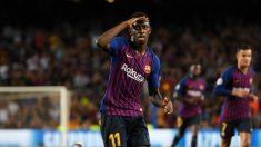 Dembélé celebra un gol con el Barcelona. (Getty)