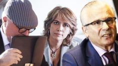 El comisario José Villarejo, la ministra de Justicia, Dolores Delgado y Baltasar Garzón.