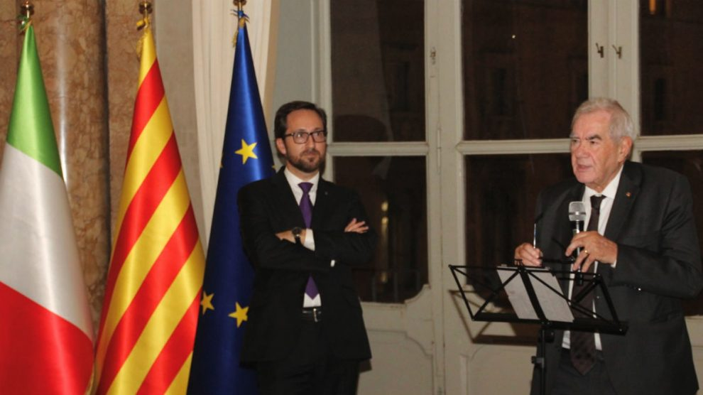 Maragall en la delegación de Italia (EP).