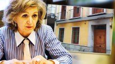 La ministra de Sanidad, María Luisa Carcedo, ante el edificio en el que se encuentra el piso que «donó» a su hijo.