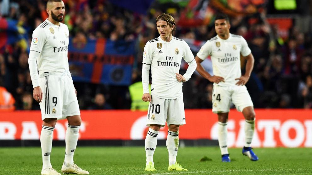Los jugadores del Real Madrid, en el Camp Nou. (Getty)